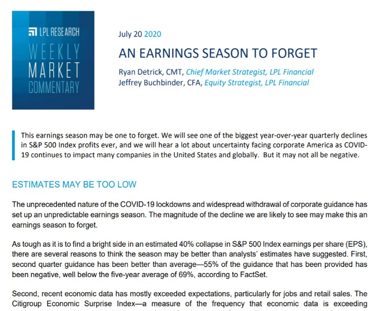 An Earnings Season To Forget   Weekly Market Commentary   July 20, 2020